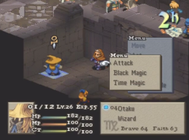 "(From HCBailly's Let's Play. If the player were to select ""Time Magic"" or ""Black Magic"" here, a further submenu would open letting them choose the specific ability they'd like to use.)"